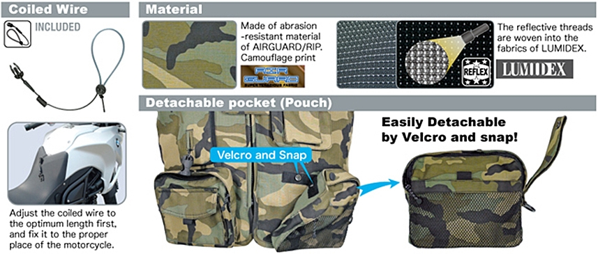 Coiled Wire / Material / Detachable pocket(Pouch)
