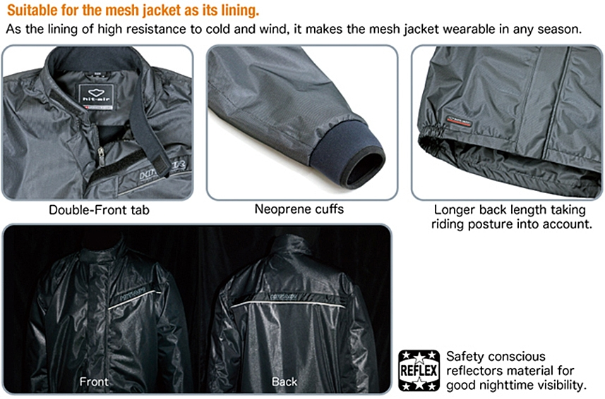 Suitable for the mesh jacket as its lining